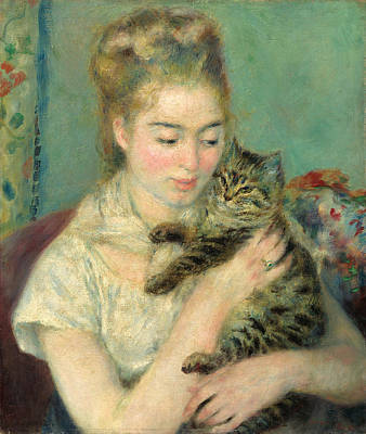 Woman With A Cat Painting - Woman With A Cat by Pierre-Auguste Renoir
