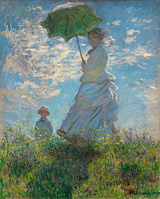 French Impressionism Painting - Woman With A Parasol - Madame Monet And Her Son by Claude Monet