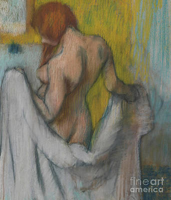Woman With A Towel Art Print