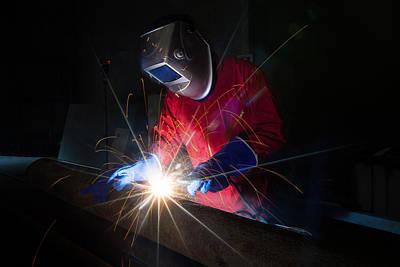 Steel Fabrication Photograph - Worker Work Hard With Welding Process by Anek Suwannaphoom