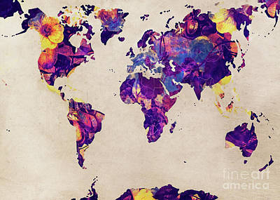 World Map Art Art Print