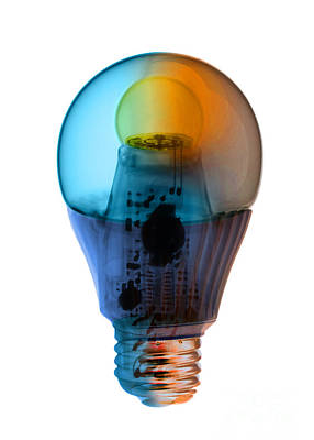 Color Enhanced Photograph - X-ray Of An Energy Efficient Light by Ted Kinsman