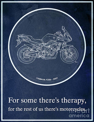 Motorcycle Painting - Yamaha Fz6b 2007 Art Print And Motorcycle Quote, Gift For Men by Pablo Franchi