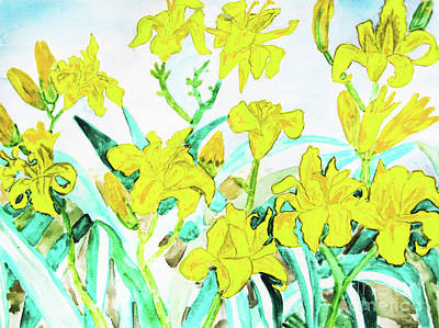 Painting - Yellow Daily Lilies by Irina Afonskaya