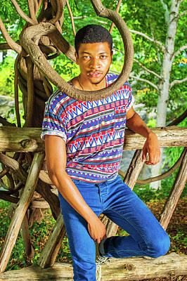 Photograph - Young African American Man Traveling, Relaxing At Central Park,  by Alexander Image