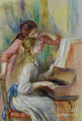 The Music Lesson Painting - Young Girls At The Piano by Pierre Auguste Renoir