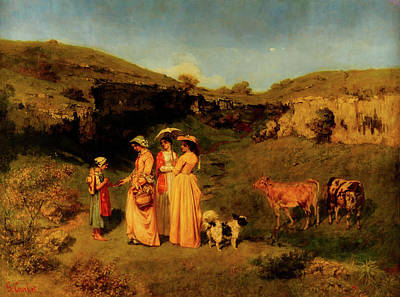 Cattle Dog Painting - Young Ladies Of The Village by Gustave Courbet