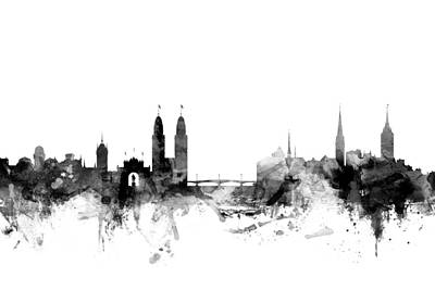 Switzerland Digital Art - Zurich Switzerland Skyline by Michael Tompsett