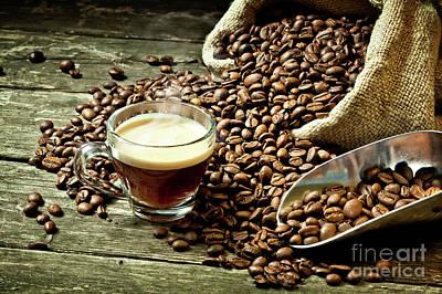 Art Print featuring the photograph Espresso And Coffee Grain by Gualtiero Boffi