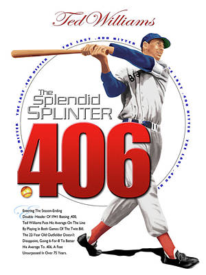 Hall Of Fame Digital Art - The Last .400 Hitter by Ron Regalado