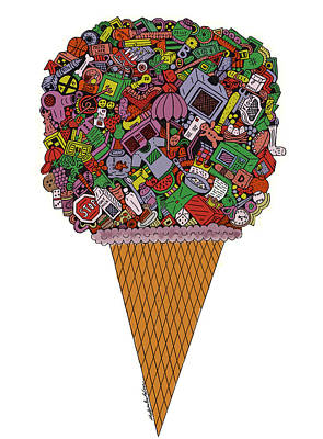 Drawing - 41 Flavors Colored by Chelsea Geldean