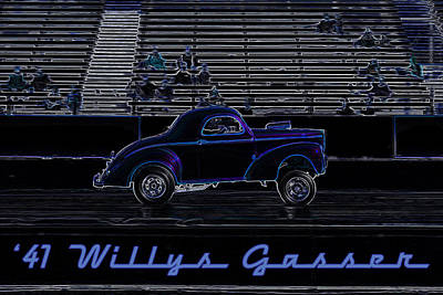 Drag Mixed Media - '41 Willys Gasser by Darrell Foster