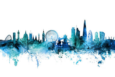 Digital Art - London England Skyline by Michael Tompsett
