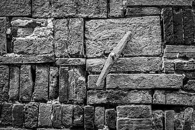 Sheep - 4273- Brick Wall Black and White by David Lange