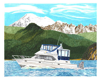 Painting - 4380 Bayliner Sunshine by Jack Pumphrey