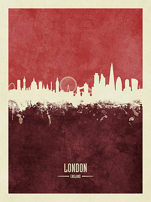 London Skyline Wall Art - Digital Art - London England Skyline by Michael Tompsett
