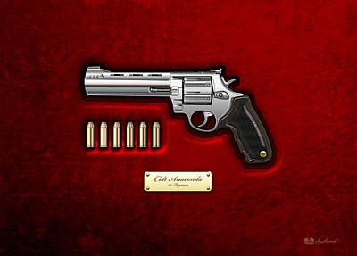 Famous Photograph - .44 Magnum Colt Anaconda On Red Velvet  by Serge Averbukh