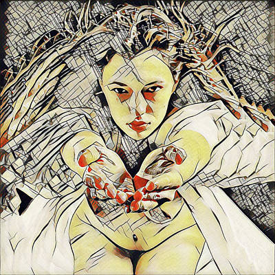 Digital Art - 4448s-ab The Succubus Comes For You Erotica In The Style Of Kandinsky by Chris Maher