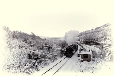Photograph - 44806 At Berwyn Station In The Snow by Andrew Munro
