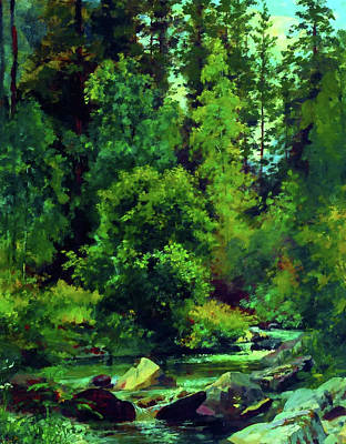 Grass Painting - Nature New Landscape by Edna Wallen