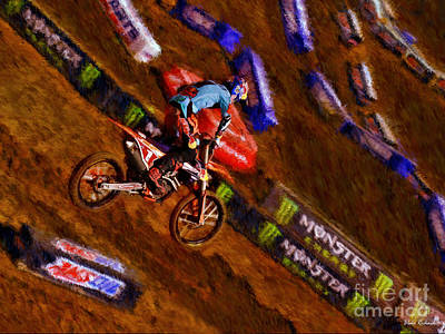 Photograph - 450 Supercross Ryan Dungey Defies Gravity by Blake Richards