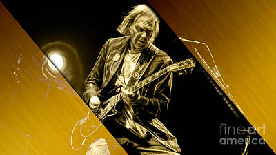 Neil Young Collection Art Print by Marvin Blaine
