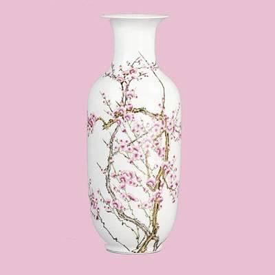 Ceramics Photograph - Stunning Pink Porcelain Blossom Vase by Shangrila Antique