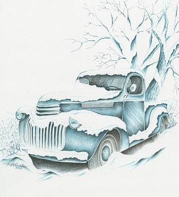 Snow Scene Landscape Drawing - 47 Chevy by Roger Womack