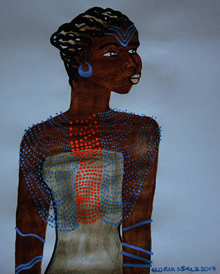 Painting - Dinka Lady  South Sudan by Gloria Ssali