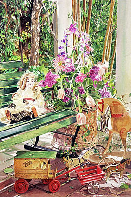 Painting - Rocking Horse, Dolls And Lilacs by David Lloyd Glover