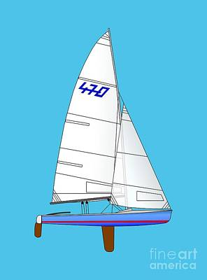 Digital Art - 470 Olympic Sailboat by Jan Brons