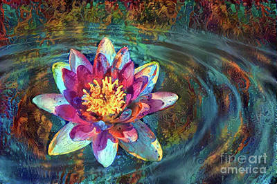 Lily Digital Art - Jeweled Water Lilies by Amy Cicconi