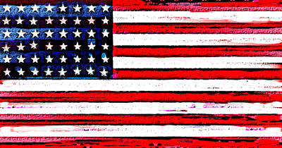 Stars And Stripes Painting - 48 States U S Flag Artistic  by Enki Art