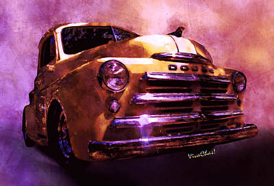 Digital Art - 49 Dodge Pickup Watercolour by Chas Sinklier