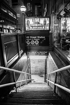 Photograph - 49 Street Subway Black And White  by John McGraw