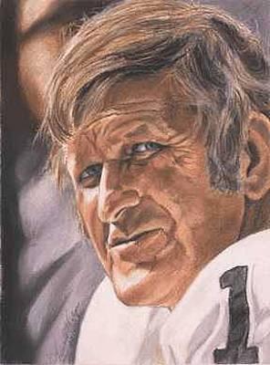 Oakland Raiders Painting - The Old Man - George Blanda by Kenneth Kelsoe