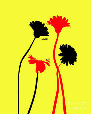 Photograph - 4daisies Black And Red On Yellow  by Heather Kirk