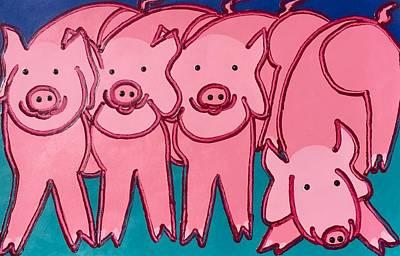 Painting - 4pink Pigs by Matthew Brzostoski
