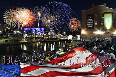 Photograph - 4th Of July 2017 Canalside Buffalo Ny Grand Finale With Text by Michael Frank Jr