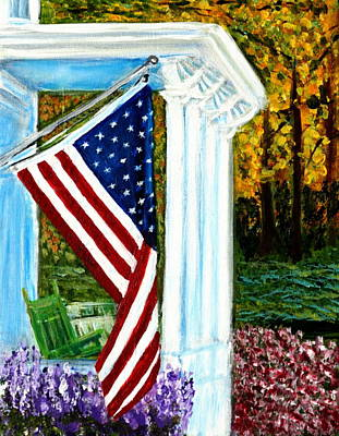 July 4th Painting - 4th Of July American Flag Home Of The Brave by Katy Hawk