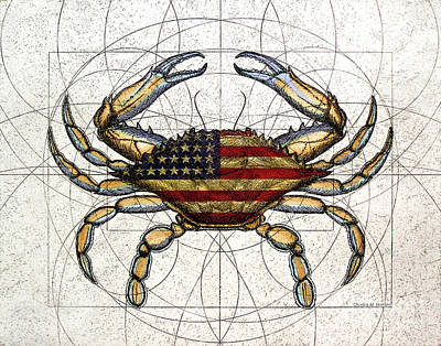 Crustacean Mixed Media - 4th Of July Crab by Charles Harden