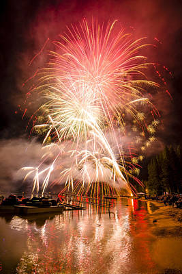 Photograph - 4th Of July Fireworks At Donner Lake In Truckee California by Joe Doherty