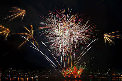 Photograph - 4th Of July Fireworks Display From The Barge Portland Oregon by David Gn