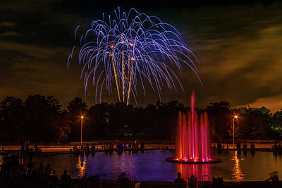 4th Of July Fireworks In Forest Park Art Print by Garry McMichael