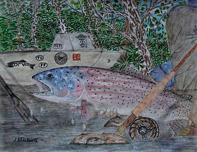 Trout Stream Drawing - 4th Of July  by Jason Blackwell