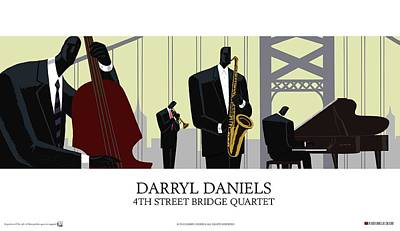 Painting - 4th Street Bridge Quartet - Poster Style by Darryl Daniels