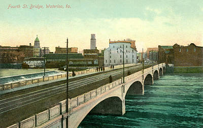 Postcards Photograph - 4th Street Bridge Waterloo Iowa by Greg Joens