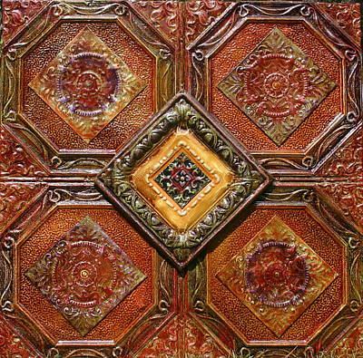 Kenny Hoff Painting - 4x4 Antique Tin Ceiling Tiles 4 Way by Kenny The Tin Man Hoff