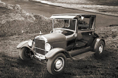 Photograph - 1927 Ford Coupe Car Antique Vintage Automobile Photograph Fine A by M K  Miller
