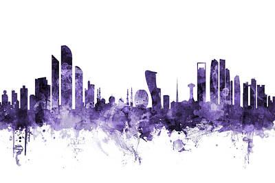 Digital Art - Abu Dhabi Skyline by Michael Tompsett